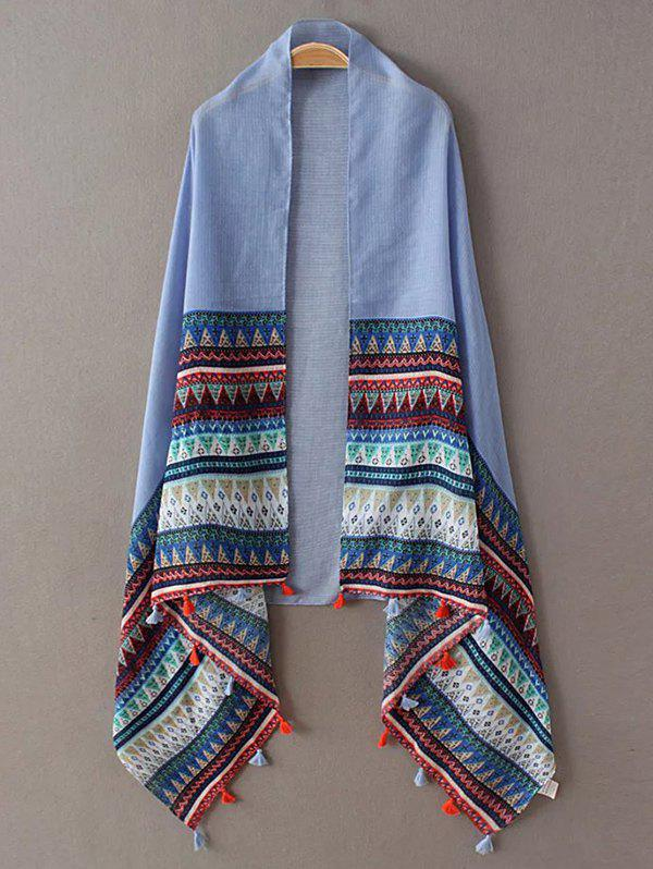 Ethnic Triangle Stripe Pattern Tassel Pashmina - BLUE