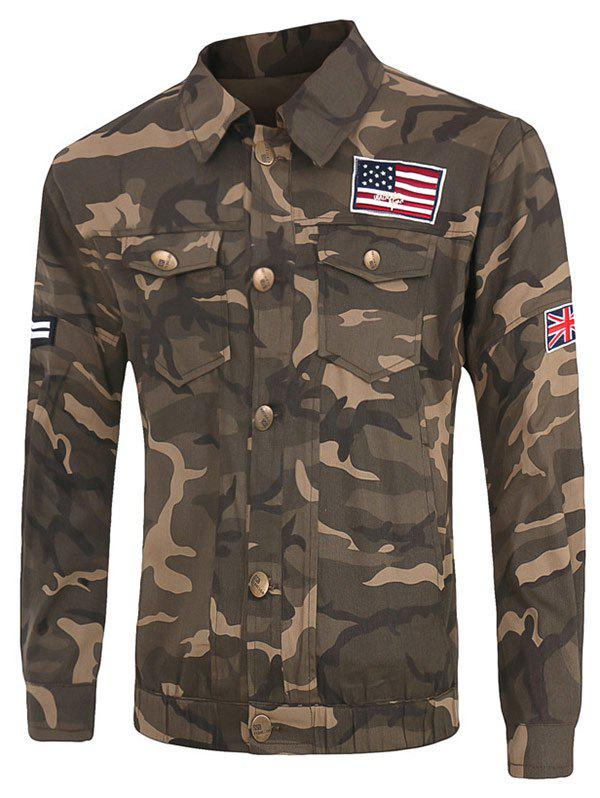 Buy Plus Size Pockets Design Turn-Down Collar Long Sleeve Camouflage Cargo Jacket CAMOUFLAGE
