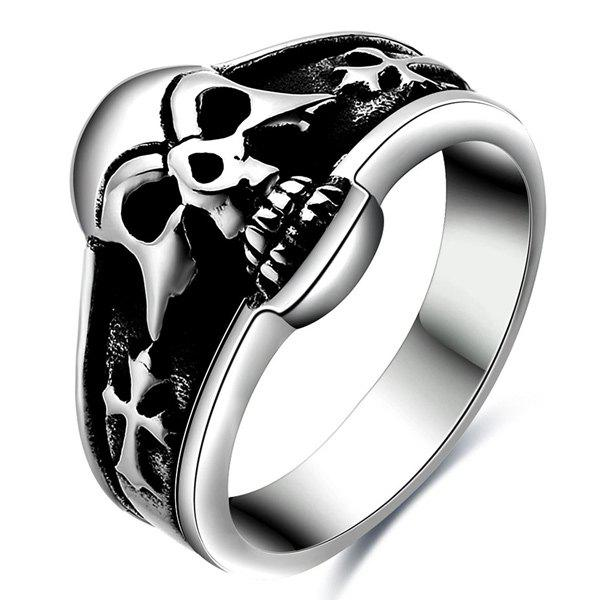 Rock Stoving Varnish Skull Head Finger Ring