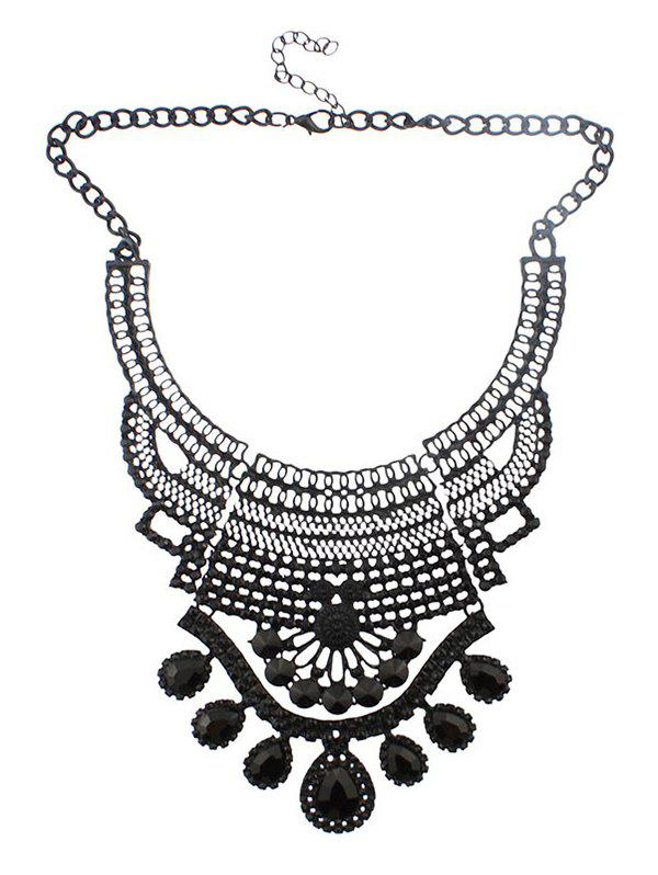 Buy Faux Crystal Hollowed Water Drop Necklace BLACK