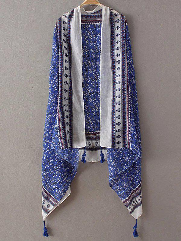 Casual Tiny Floral Pattern Tassel Pashmina - SAPPHIRE BLUE
