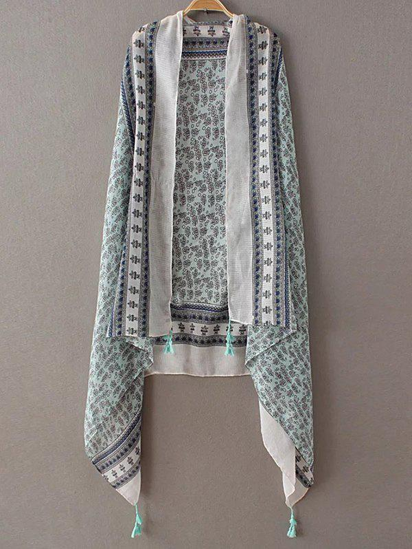 Casual Tiny Floral Pattern Tassel PashminaAccessories<br><br><br>Color: LIGHT GREEN