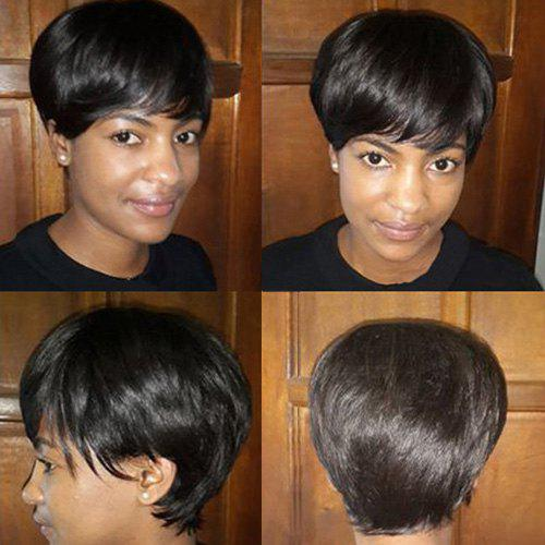 Short Full Bang Straight Real Natural Hair Capless Wig - JET BLACK