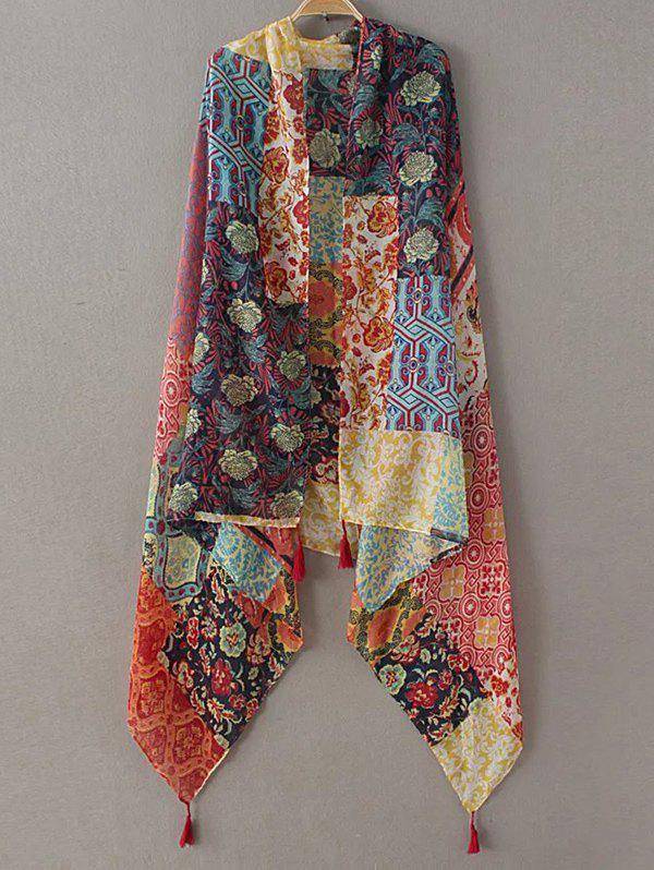 Casual Flower Patchwork Pattern Tassel Pashmina - YELLOW