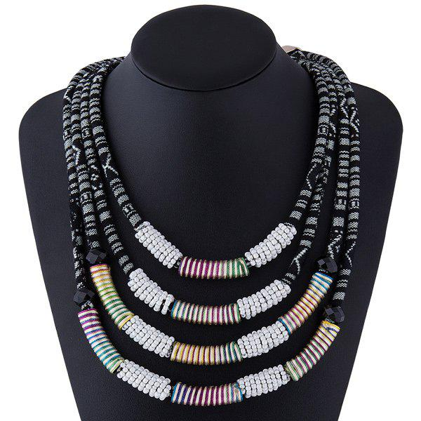 Bead Cloth Rope Layered Necklace - WHITE
