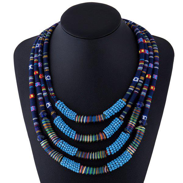 Winding Rope Bead Layered Necklace - BLUE