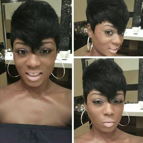Endearing Short Fluffy Side Bang Straight Real Natural Hair Capless Wig - JET BLACK