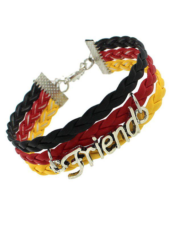 Faux Leather Woven Flag Friend Bracelet - BLACK