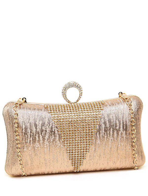 Clip Beading Ring Chains Evening Bag - LIGHT PINK