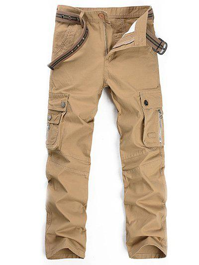 Plus Size Zipper Fly Straight Leg Slimming Pockets Design Pants - KHAKI 42