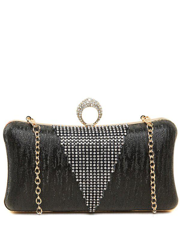 Clip Beading Ring Chains Evening Bag - BLACK