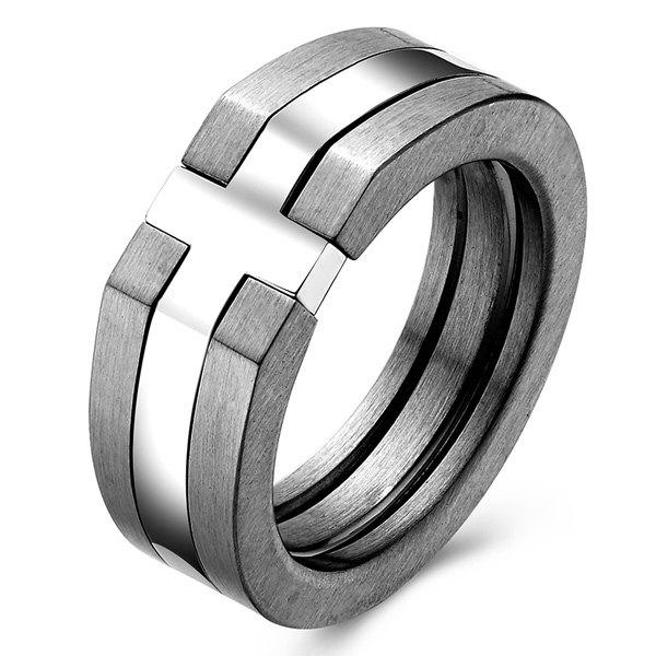 Gothic Stainless Steel Cross Wide Finger Ring - SILVER GRAY