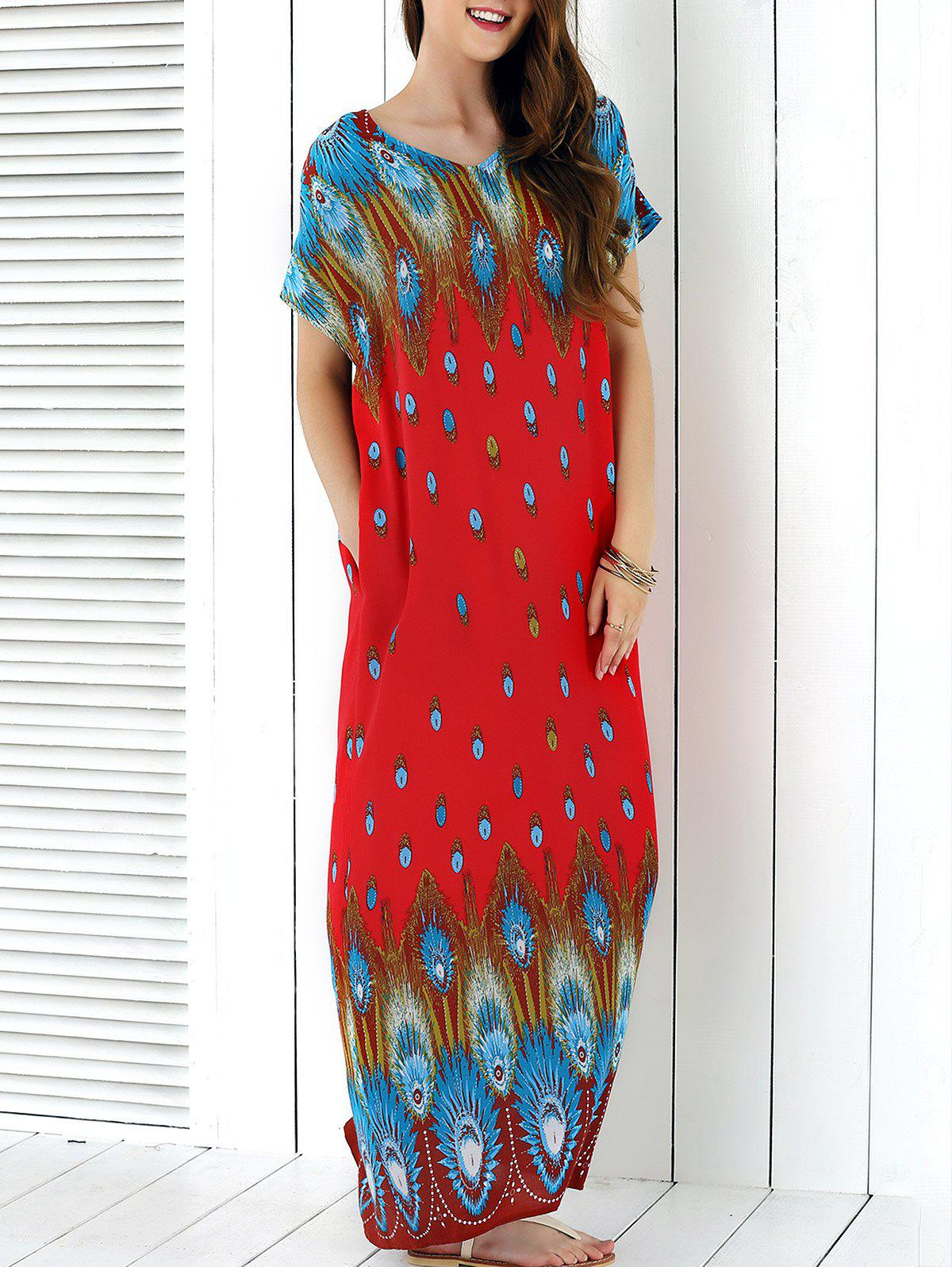 Peacock Tail Print Maxi Dress - RED XL