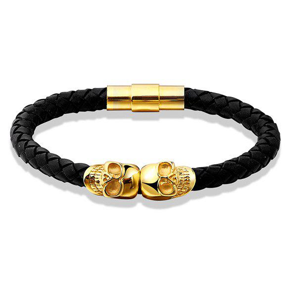 Hot Sale Skull Woven Faux Leather Bracelet - BLACK