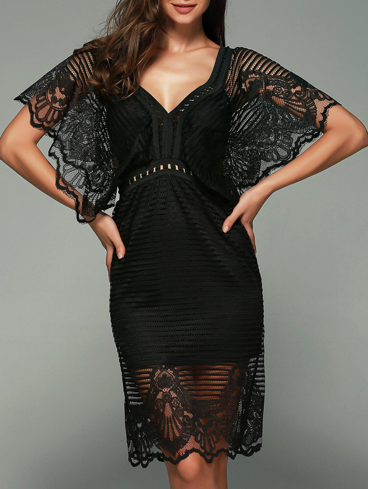 Butterfly Sleeve Lace Dress - BLACK M
