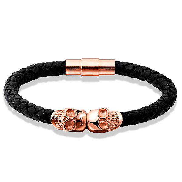 Skull Woven Faux Leather Bracelet - ROSE GOLD