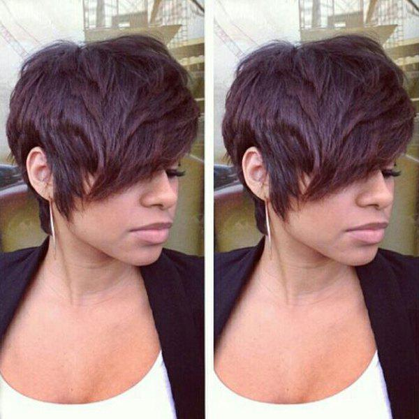 Short Fluffy Oblique Bang Straight Real Natural Hair Capless Wig - RED MIXED BLACK