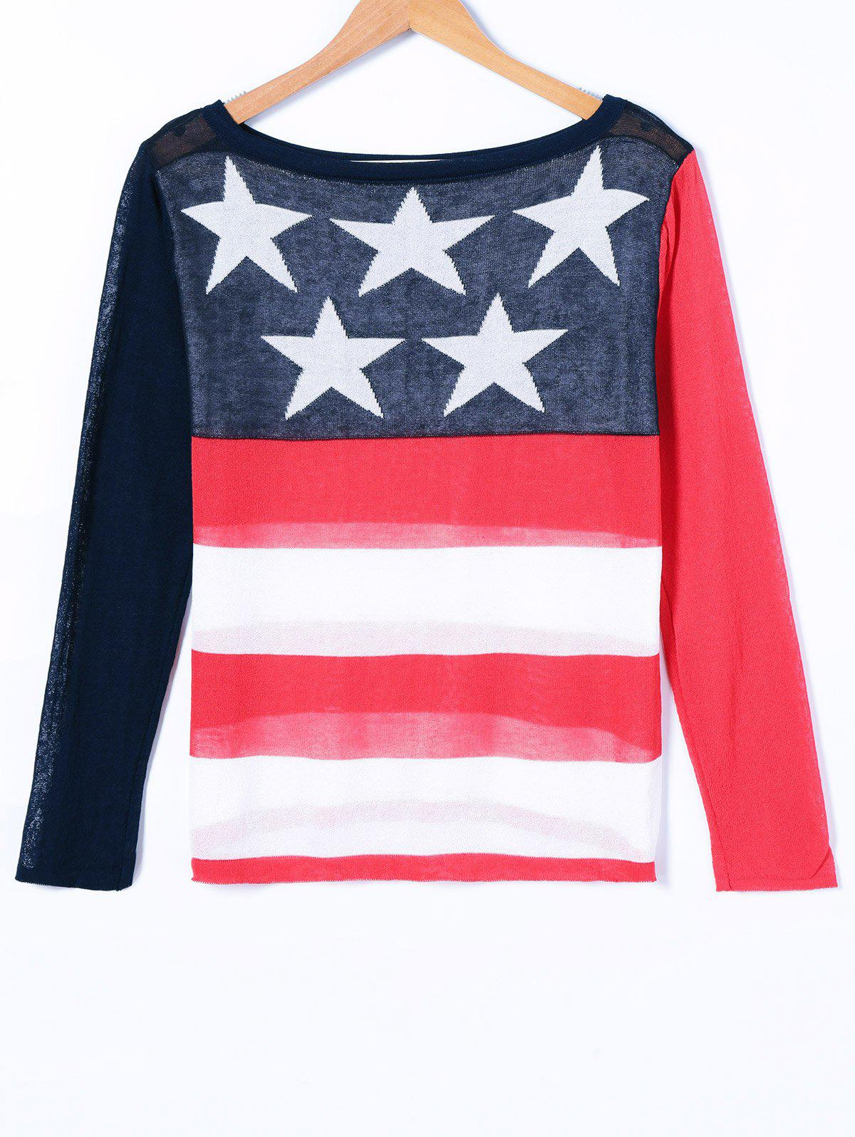 American Flag Print Knitwear - COLORMIX ONE SIZE