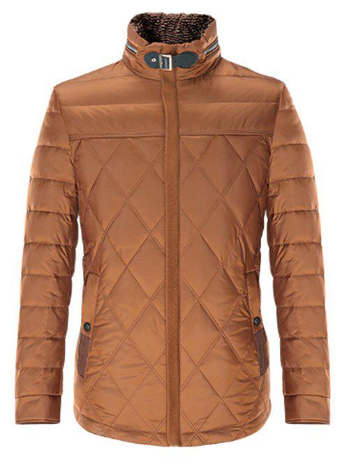Stand Collar Zipper Up Geometric Padded Jacket - 3XL BROWN