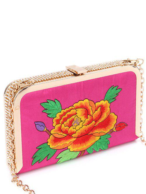 Rhinestone Flower Embroidered Chains Evening Bag - ROSE RED