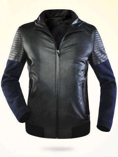 Ribbed Faux Leather Zippered Splicing Hooded Jacket - BLACK 3XL