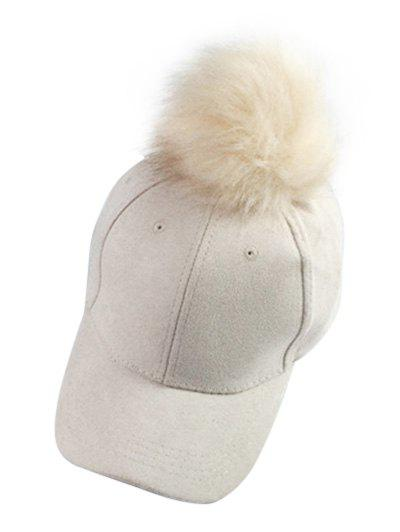 Casual Big Fuzzy Ball Faux Suede Baseball Hat - OFF WHITE