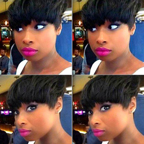 Sunny Short Full Bang Straight Real Natural Hair Capless Bowl Wig - JET BLACK