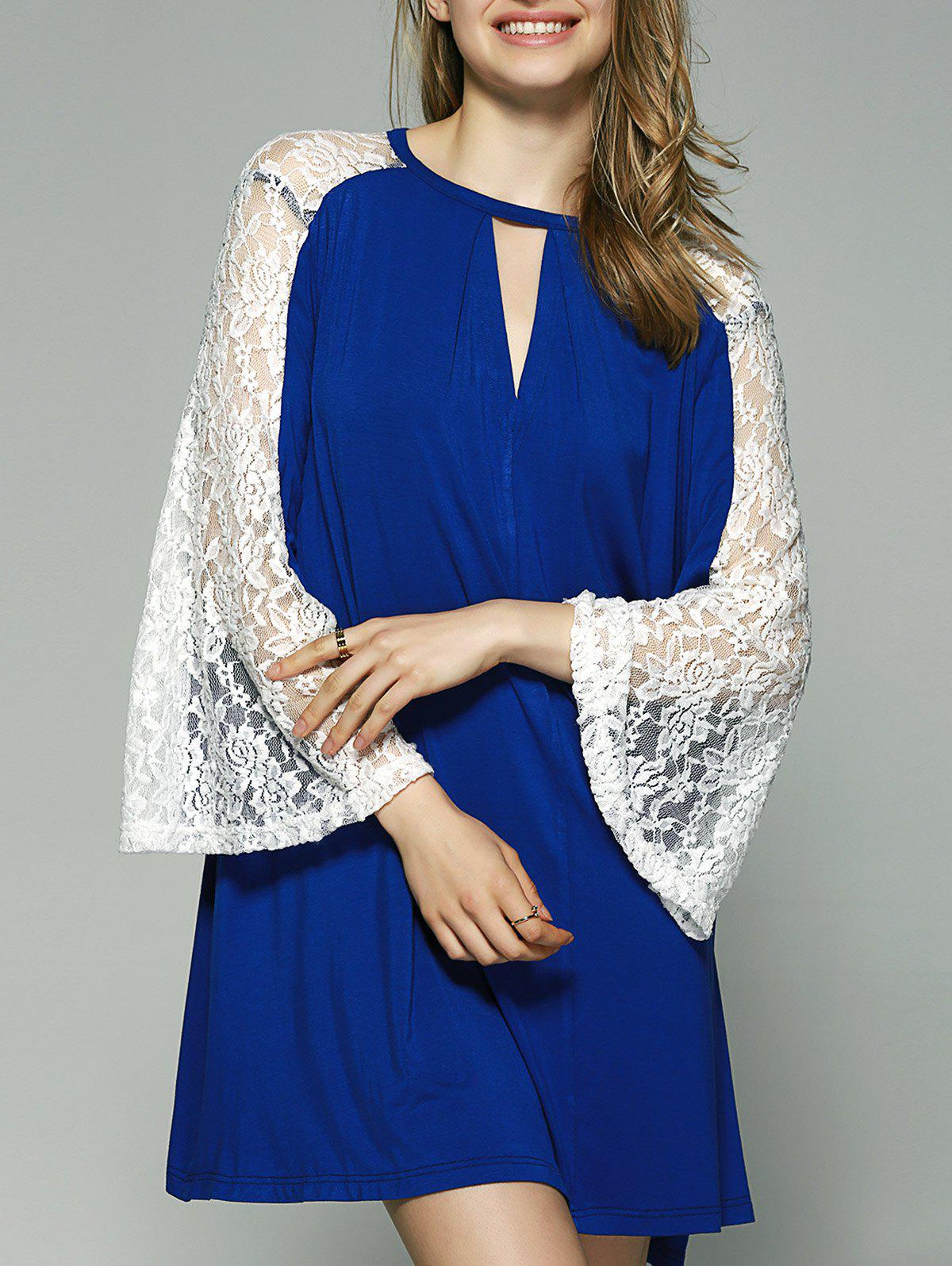 Flare Sleeve Lace Patchwork Smock Dress - BLUE/WHITE XL