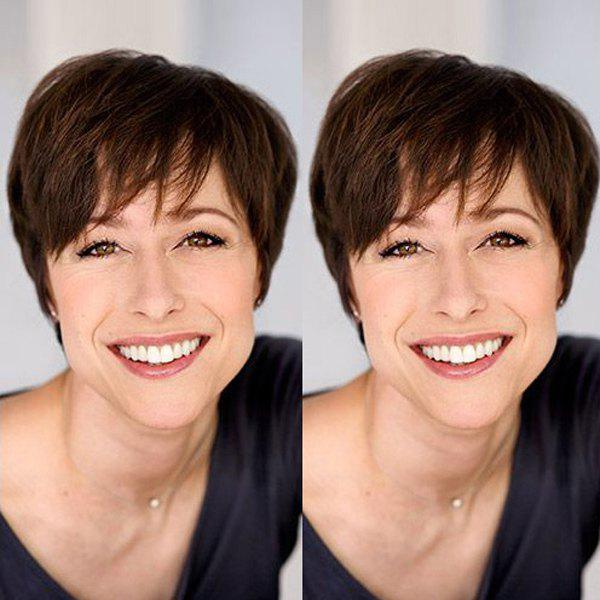 Short Shaggy Inclined Bang Straight Capless Real Natural Hair Wig - MEDIUM BROWN