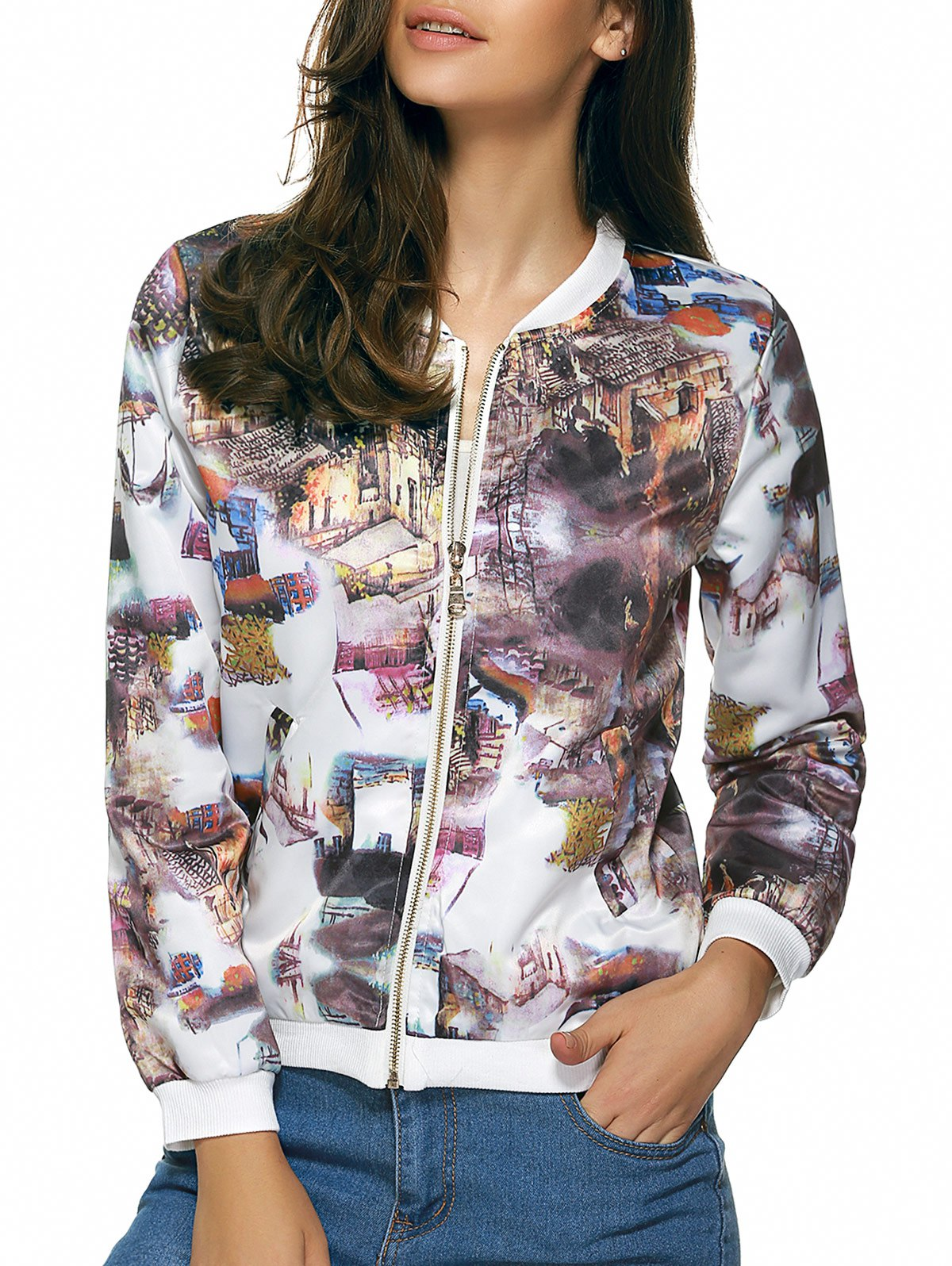 Long Sleeves Zipped Printed Jacket - WHITE 2XL