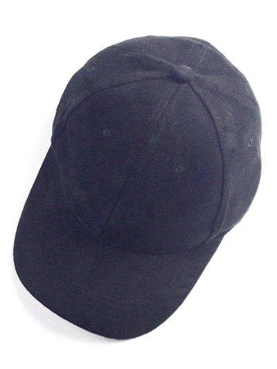 Casual Faux Suede Baseball Hat - BLACK