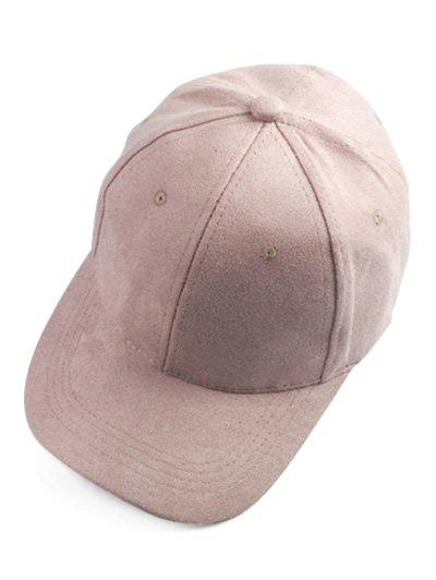 Casual Faux Suede Baseball Hat - PINK