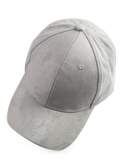 Casual Faux Suede Baseball Hat - LIGHT GRAY
