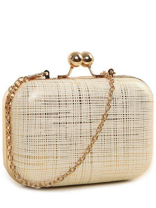 Kiss Lock Stripe Chains Evening Bag - OFF WHITE