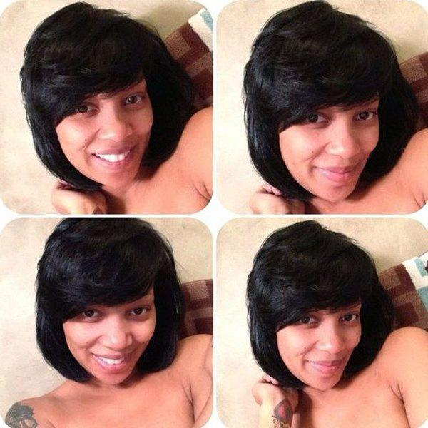 Gorgeous Short Oblique Bang Straight Real Natural Hair Capless Wig - JET BLACK