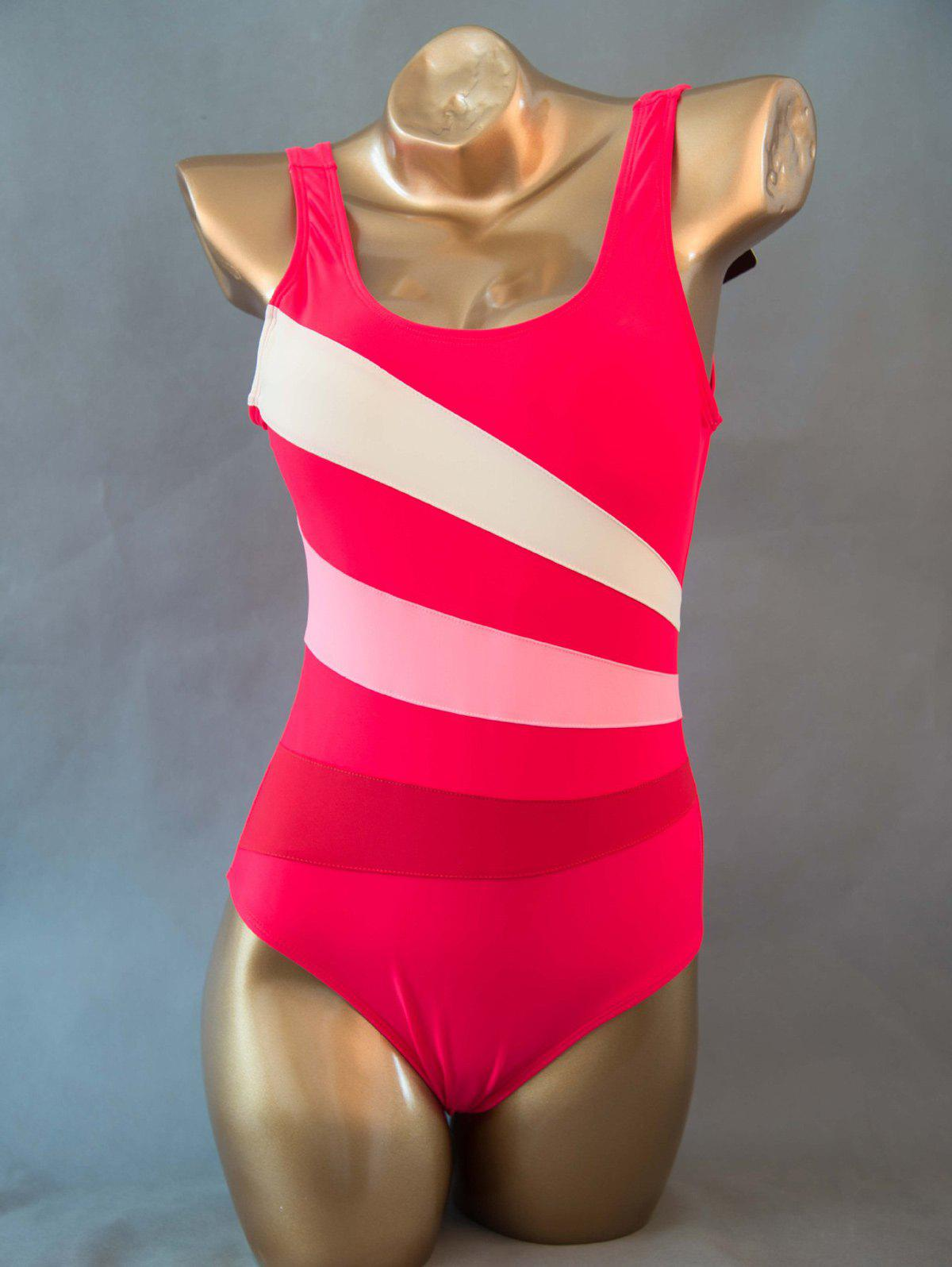 Color Block Skinny Backless One Piece Swimwear - RED 6XL