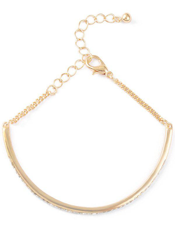 Rhinestone Half-Circle Alloy Chain Bracelet - GOLDEN