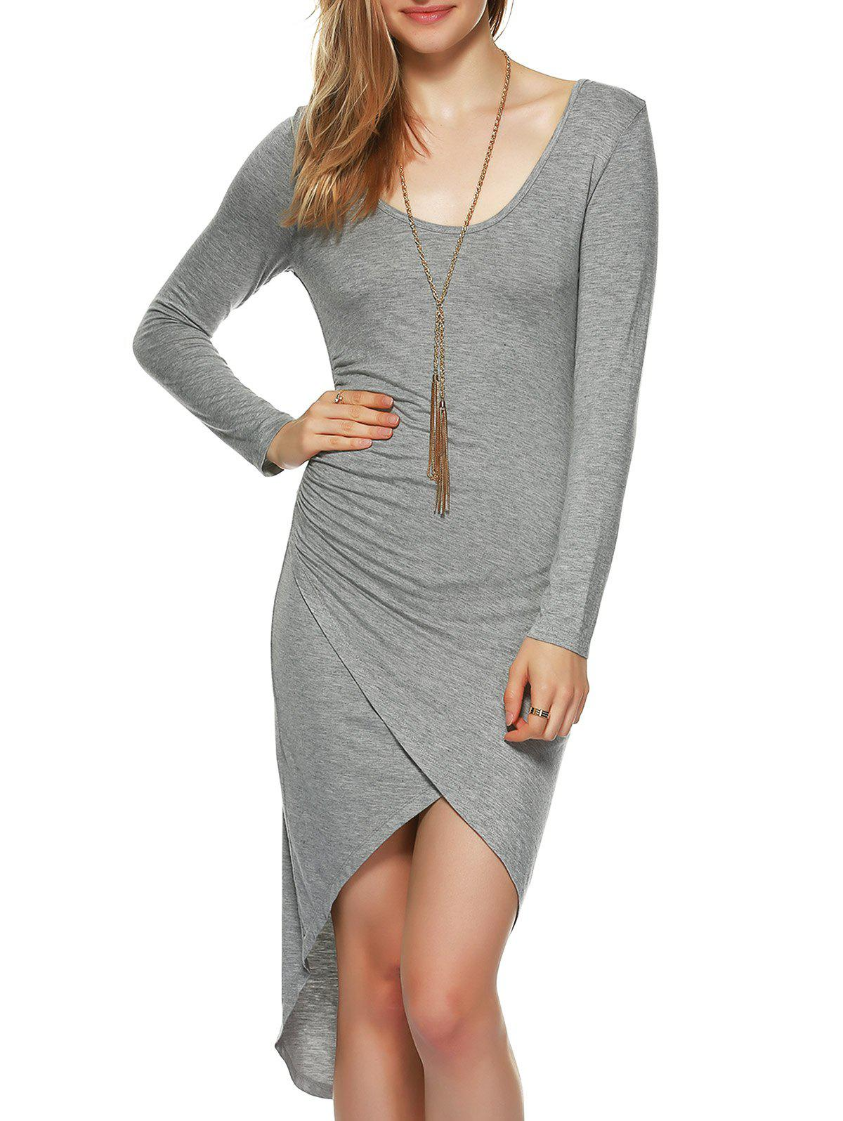 Shirred Asymmetrical Bodycon Dress