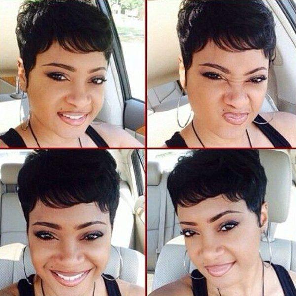Straight Pixie Cut Real Natural Hair Capless Ultrashort Wig - JET BLACK