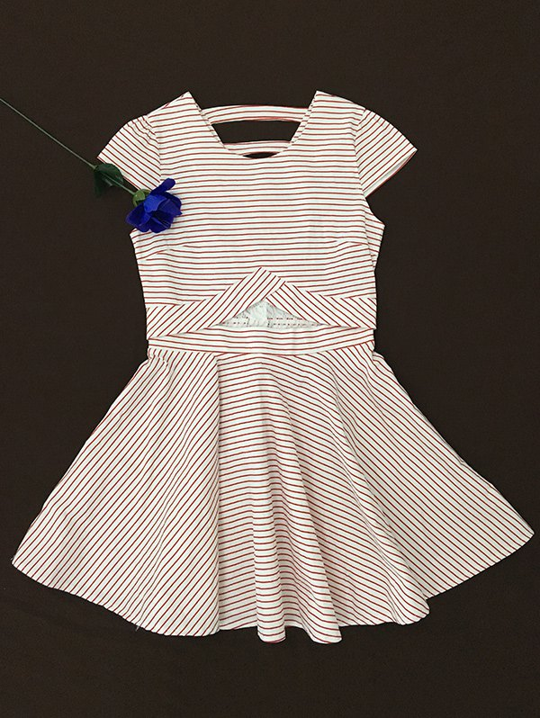 Striped Print Lace Splicing Dress