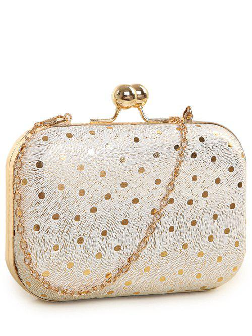 Kiss Lock Stripe Dot Evening Bag - GOLDEN