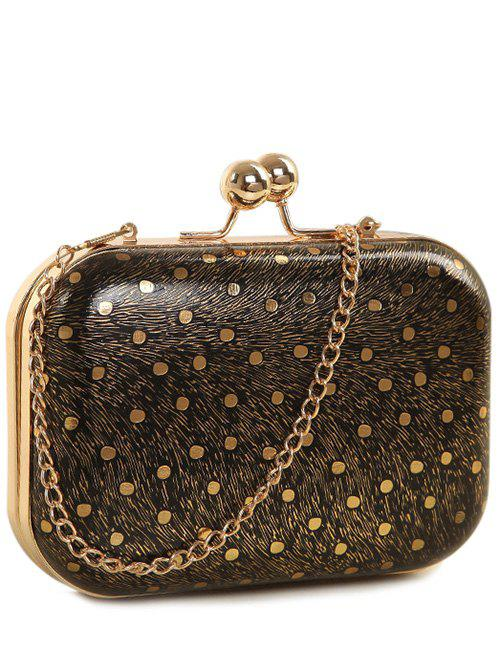 Baiser Verrouiller Stripe Dot Evening Bag - Noir