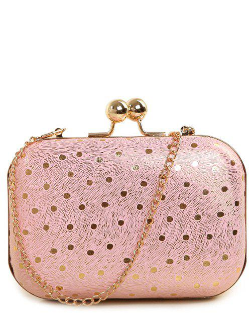 Kiss Lock Stripe Dot Evening Bag - PINK