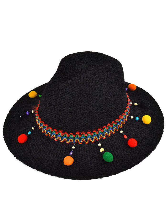 Ethnic Small Pompon Pendant Knit Jazz Hat - BLACK