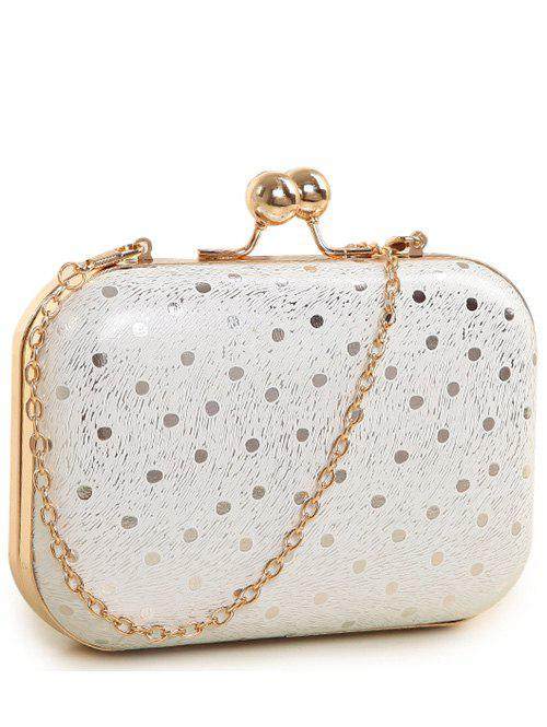 Kiss Lock Stripe Dot Evening Bag - WHITE