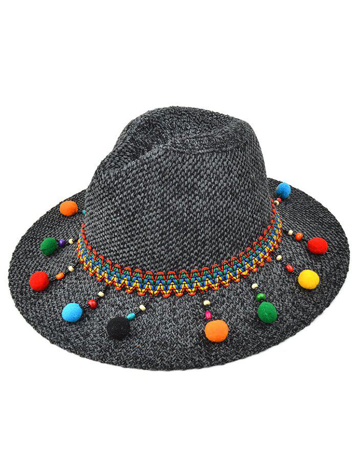 Ethnic Small Pompon Pendant Knit Jazz Hat - BLACK GREY