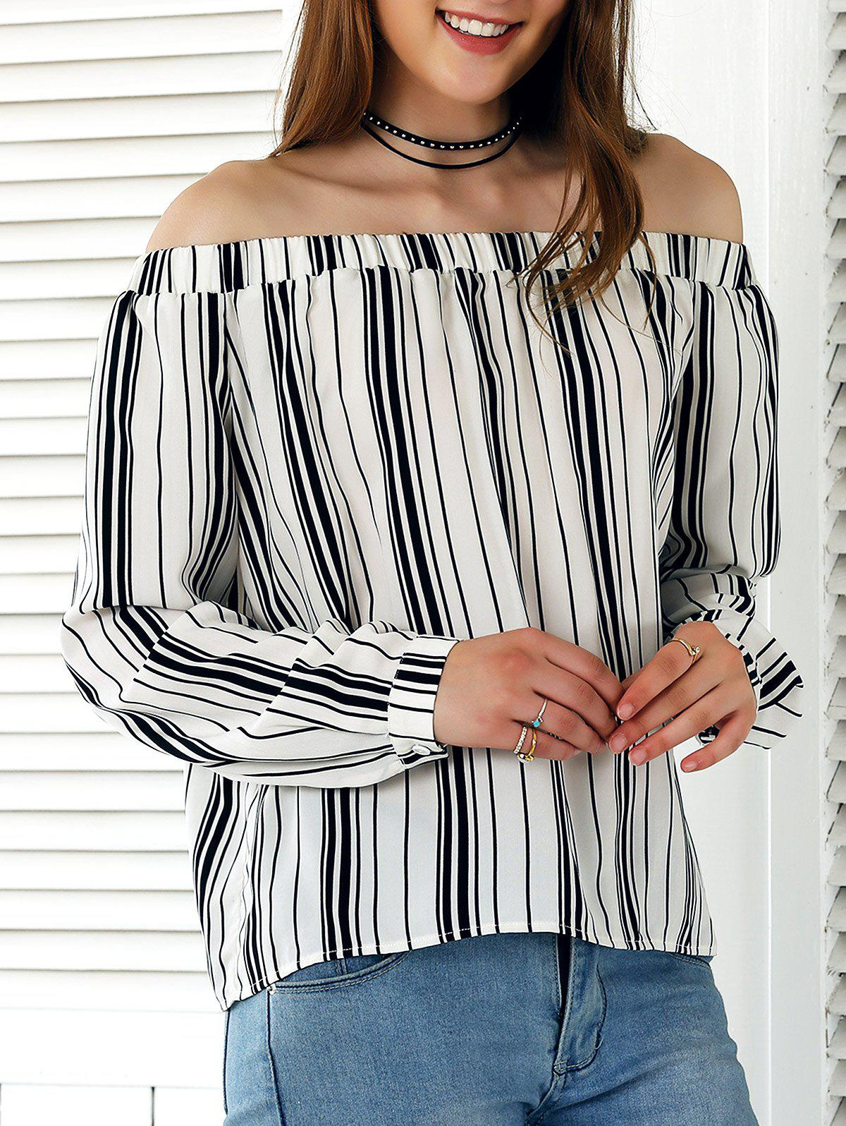 Off-The-Shoulder Striped Blouse - STRIPE XL