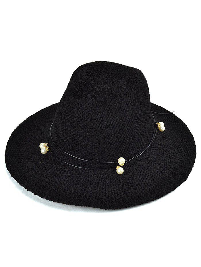Autumn Faux Pearl Rope Knit Jazz Hat - BLACK
