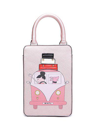 Cartoon Figure Print Rivet Tote Bag - PINK