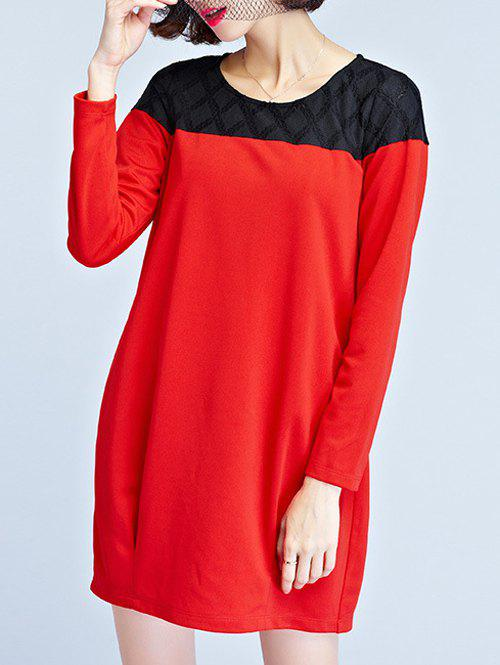 Long Sleeve Mini T Shirt Dress - RED XL